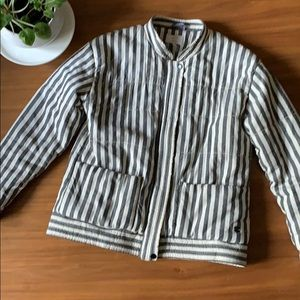 Anthropologie Numph Quilted Striped Bomber Size 36